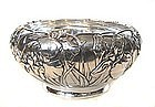 Gorgeous Japanese Silver Bowl with Irises
