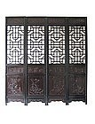 Chinese Set of 4 Large Carved Door Panels