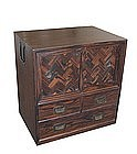 Antique Japanese Persimmon Wood Personal Tansu
