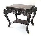 Antique Japanese Ornate Carved Table with Irises