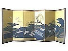 Antique Japanese 6-panel Screen Painting with Herons