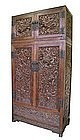 Pair of Chinese Carved Hauli Dragon Cabinets