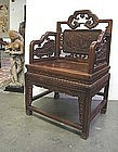 Pair of Beautiful Chinese Carved Huali Wood Chairs