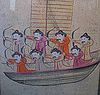 Antique Korean Folk Painting of Archers on Boat
