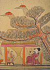 Antique Korean Folk Painting with Noblemen and Birds
