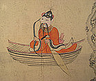 Antique Korean Folk Painting with Man in Boat