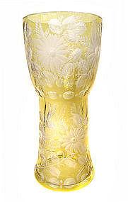Beautiful Japanese Large Yellow Cut Crystal Vase