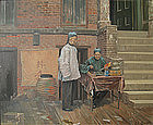 Oil Painting by P. A. Morgan of Chinese Men on Street