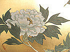 Japanese Antique Screen Painting with Peony Flowers