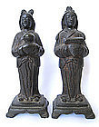Pair of Chinese Ming Dynasty Bronze Attendants