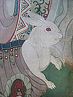 Chinese Antique Painting of Ancestors and Rabbit