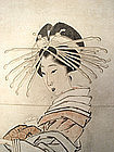 Japanese Antique Scroll Painting of Beauty