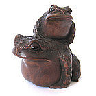 Japanese antique Frogs Okimono by Masanao