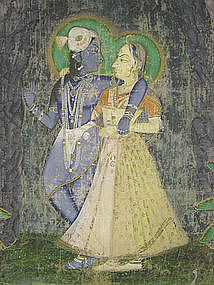 Indian Pichhwai Temple Painting of Radha and Krishna