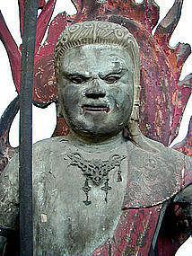 Japanese Carved Wood Figure of Fudo Myoo