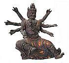 Three Faced Wooden Buddhist Deity