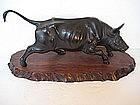 Japanese Meiji Period Bronze Running Bull
