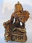 SinoTibetan Antique Gold-Plated Bronze Manjusri Figure