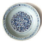 Chinese Ming Dynasty Blue and White Fu dogs Plate