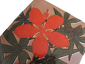 Japanese Deco Period Lacquer Box with Hibiscus Flower