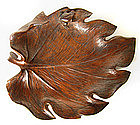 Japanese Carved Wood Leaf Tray with Frog