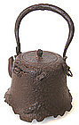 Japanese Antique Iron Tetsubin with Crabs in Rocks