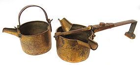 Antique Gilt Copper Buddhist Ritual Vessels