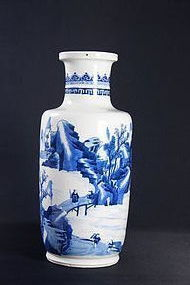 IMPORTANT KANGXI PERIOD BLUE AND WHITE LANDSCAPE BALUSTER VASE