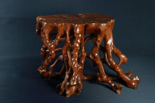 IMPORTANT EARLY QING LARGE BOXWOOD ROOT STAND