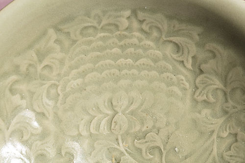 Rare Northern Song dynasty Yaozhou celadon moulded peony large bowl