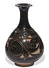 Nice Jin dynasty Cizhou sgraffiato black glazed pear shaped vase