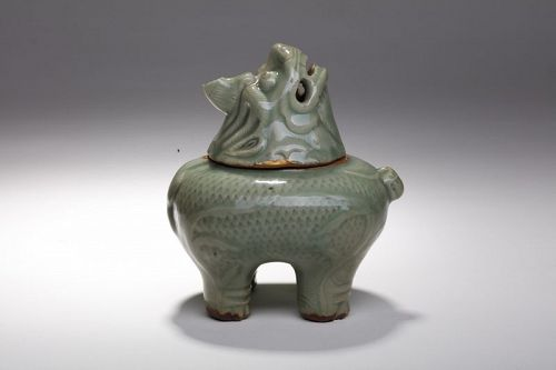 Important and rare Ming dynasty Longquan celadon beast censer