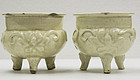 Rare pair Jin dynasty Cizhou white glazed moulded floral censers