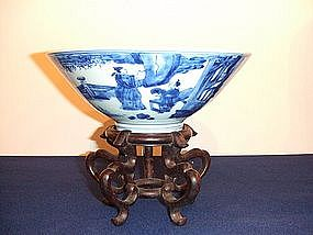 Large Kangxi period (AD1662 - 1722) blue and white bowl