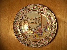 19th century Cantonese famille rose porcelain plate