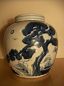 19th century 'Three Friends' blue and white ginger jar
