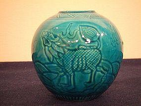 Qianlong marked 19th century turquoise glazed ovoid jar