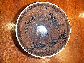 VERY RARE SONG DYNASTY JIZHOU TYPE PRUNUS SPRAY TEMMOKU