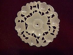 FINE 19TH CENTURY WHITE JADE FLORAL BUTTON