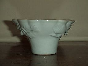 18TH/19TH C BLANC DE CHINE DEHUA MOLDED LIBATION CUP 1
