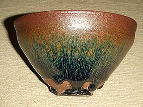 FINE SONG DYNASTY JIAN HARE'S FUR TEA BOWL, TEMMOKU