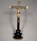 Antique 17th century Baroque Crucifix Cross Gild Bronze