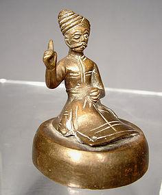 Brass Sikh Guru Indian Brass Figurine, 19th century