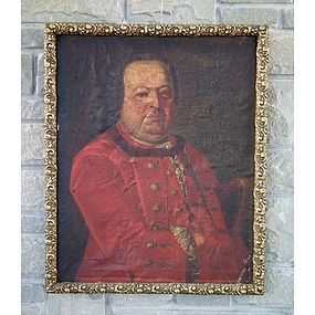 Antique Painting Polish Saxon Officer Portrait, 18th c