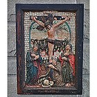 Antique Medieval Terracotta Relief Crucifixion,  15th c