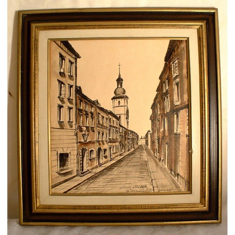 POLISH PAINTING, WATERCOLOR AND INK, SIGNED 1973
