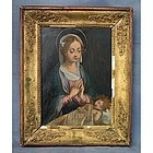 Antique 17th century Painting Virgin Adoring the Christ