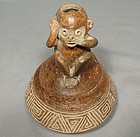 Antique Pre-Columbian Chavin Ceramic Effigy Monkey