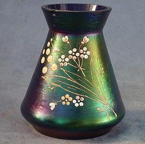 Antique Art Nouveau iridescent glass vase attributed t