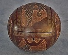 Antique Sailor Made Carved Coconut Jewel Box 19th C